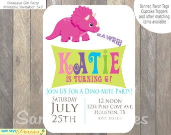 Dinosaur Girl Birthday Printable Invitation, Dinosaur Invitation, Dinosaur Party, Printable Invitation