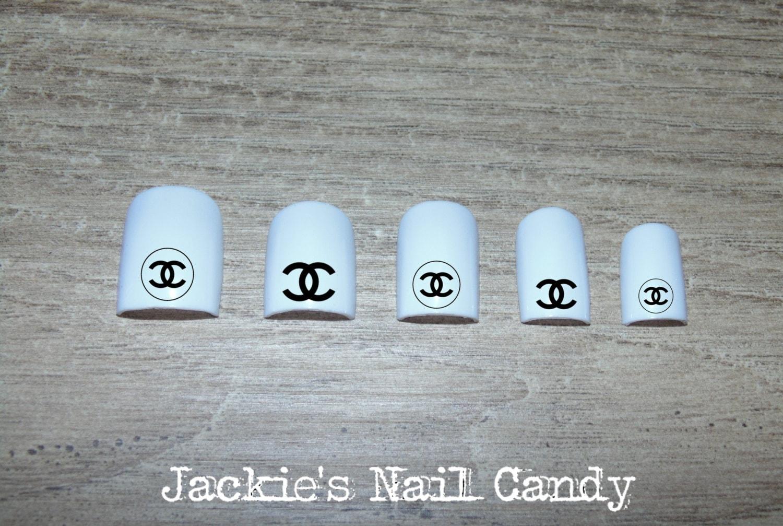 Black Double C Logo Nail Decals High Fashion Nail Art 25