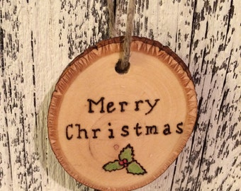 Merry Christmas wood ornament with mistletoe, Rustic wooden Christmas ornament, wood burned ornament
