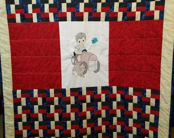 Tractor Man infant/toddler quilt/ car seat, stroller cover/  play, nap mat