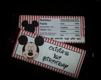 Mickey Mouse Hershey Candy Bar Wrappers - 12 Personalized Birthday Party Favor Stickers
