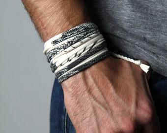 Men Bracelet, Boyfriend Gift, White Bracelet, Cuff Bracelet, Gift for Men, Mens Festival Clothing, Mens Gift, Husband Gift, Festival
