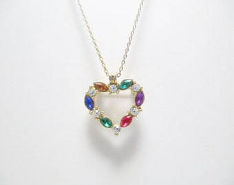 Multi-Colored Crystal Heart Pin/Necklace, Charm Necklace, Sweetheart Necklace