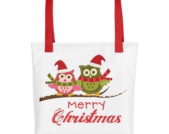 Cute Owl Merry Christmas Tote bag, Christmas Tote, Christmas Craft Tote, Christmas Gift, Christmas Decor