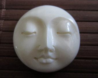 25 mm Moon Face Cabochon, Closed Eyes , Hand Carved Buffalo Bone,  Embellishment, Moon face cameo,  B3449
