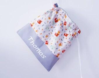 Bag blanket, snack bag, personalized name Chevron DrawString bag. To order.