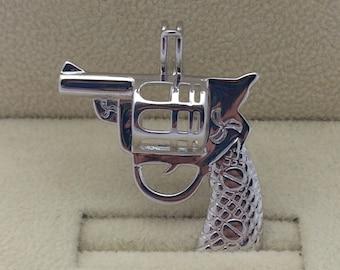 925 Sterling Silver Revolver Pearl Cage Pendant