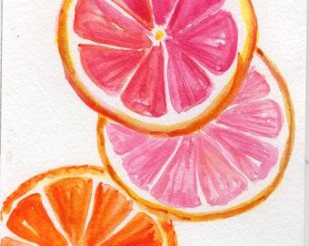 Tranches de Citrus aquarelle peinture Original, Orange, pamplemousse, citron vert, art fruits 4 x 6 décor de cuisine cuisine