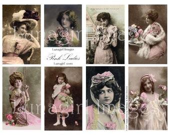 PINK LADIES, vintage photos, digital collage sheet DOWNLOAD, vintage images women Victorian girls, ephemera altered art, tinted postcards
