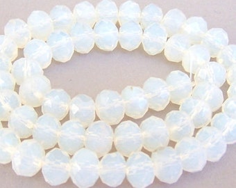 16 opalite crystal beads, 10mm Chinese crystal rondelles, translucent white opal