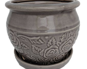 "Rosalia Planter with Attached Saucer - Grey - 6"" x 5 1/4"""