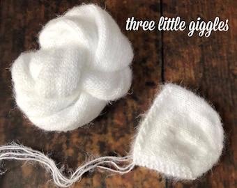 The {Snow White} Newborn Bonnet & Knit Wrap Set