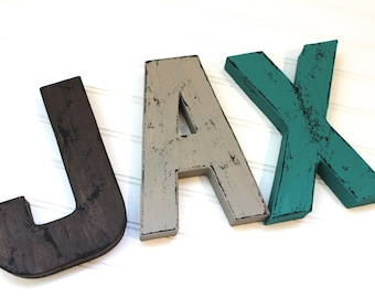 Distressed Letters - Wooden Letters - Woodland Nursery - Reclaimed Wood - Wall Letters Nursery - Rustic Home Decor - Man Cave Wall Decor