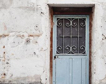 "Paris Door Photo, Blue and White Paris Print, French Home Decor, Urban Shabby Chic, Pastel Paris Photography, ""The Pale Door"""