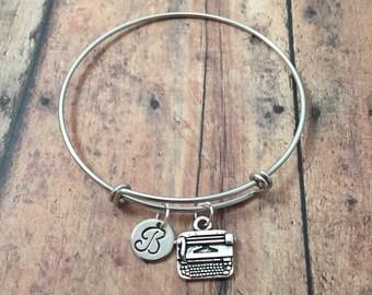 Typewriter initial bangle - typewriter jewelry, gift for writer, typist jewelry, writer jewelry, journalist bangle, typewriter bracelet