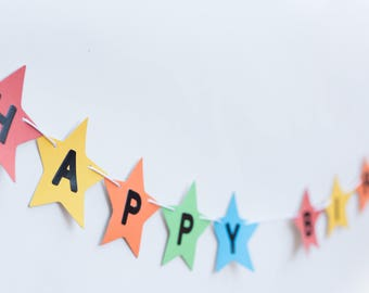 Bright colour star birthday banner, Happy birthday garland,