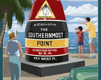 Key West, Florida - Southernmost Point (Art Prints available in multiple sizes)