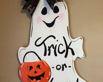 Trick or Treat Ghost Halloween Hand Painted Personalized Wooden Door Hanger