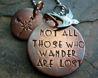 Not All Those Who Wander Are Lost - Hand Stamped Rustic Copper Necklace, Silver Swallow Charm, Mixed Metal, Compass Rose