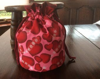 Drawstring Red Heart Bag.Handmade. Project Bag.Crochet Bag.Drawstring Tote.Unique.Gift Bag.Birthday Gift.Red Bag .Gift.