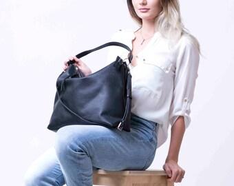 Schwarzes Leder Hobo Tasche, schwarz Hobo Hobo Handtasche