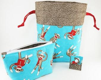 "Knitting Project Bag - New! ""Sock Monkey Turquoise"" 2 Piece Set Knitting Project Bag (V)"
