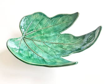 Ceramic leaf shaped trinket dish, ring holder plate, ring dish, cone incense burner, leaf ring dish, pottery tray, handmade ceramic dish