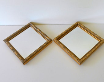 "Two Small Wall mirrors,Gold decorative  mirrors,Made in USA for Home Interiors Gift,Vintage small Square mirrors,/5 3/4"" F,4 3/4"" mirror/"