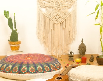 Round Tapestry Pouf Meditation Cushion Round Tapestry Pillow Floor Cushion Seating Pouffe FILLER NOT INCLUDED