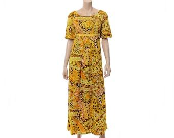 Vintage 60s 70s Hawaiian Maxi Dress 1960s 1970s Psychedelic Mod Flower Tiki Party Dress / S/M