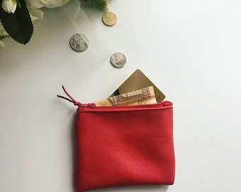 SALES Leather coin purse / leather pouch lined / Leather card holder/ red leather purse / red leather / leather wallet / gifts idea Luxury