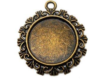 medium round cabochon 20mm bronze