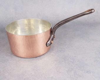 "7.9"" Copper saucepan, Saucepan, Copper Saute Pan, Copper Pan, Copper pot, Copper Kitchenware"