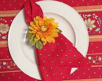 "French Country Napkins, Red and Yellow Napkins, ""Vence"""