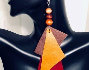 Red and Brown Leather Wooden Beads Statement Earrings- SALE