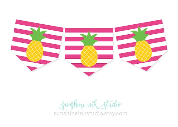 Pineapple Party Banner Hawaiian Luau Pool Party Printable
