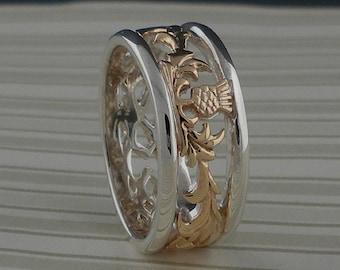 Sterling Silver & 10K Scottish Thistle Wedding Ring