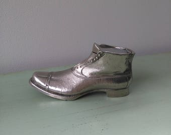 Inkwell shoe boot silver plated early 20th