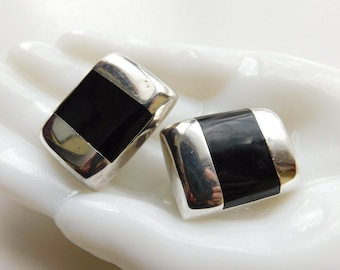 Taxco Mexico TC - 257 Sterling Silver 925 Black Onyx Inlaid Heavy Clip On Earrings Inlay