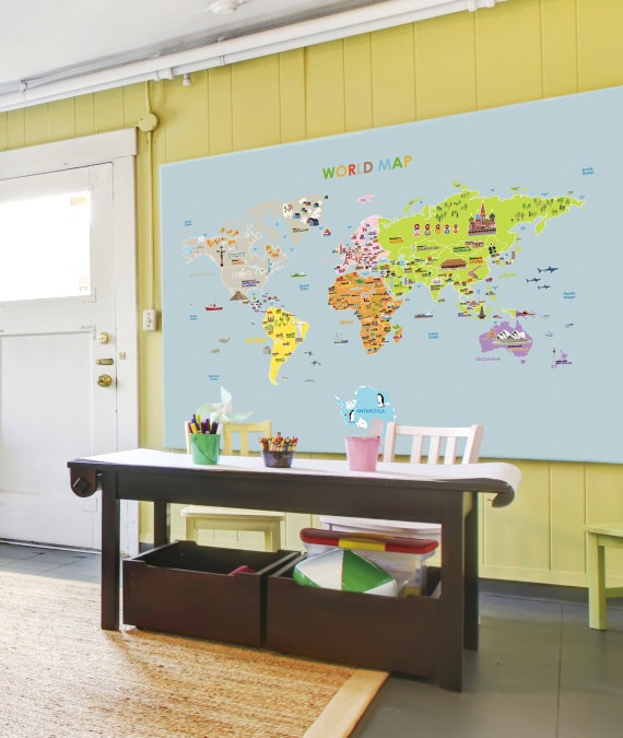 World map removable nursery wall art decor mural decal sticker 61005 world map removable nursery wall art decor mural decal sticker 61005 from verryberrysticker on etsy studio gumiabroncs Images