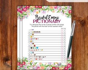 Bridal Shower Game Emoji Pictionary / Flowers / Instant Printable Digital Download / DIY Bridal Shower Printables / EMJOI / FW76