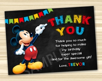 Mickey Thank You Card. Mickey Mouse Thank You Card. Mickey Mouse Party Invitation. Mickey Mouse Printable. Mickey Birthday Party