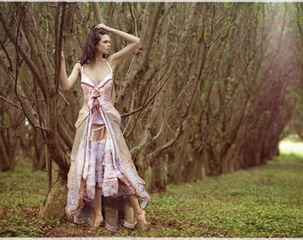 bespoke bohemian bridal gown - upcycled vintage lace silk linen