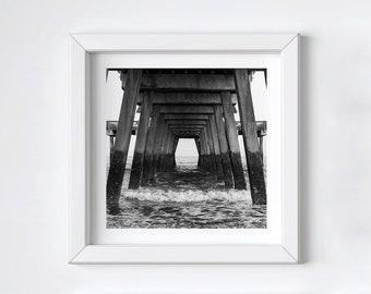 Black and white photo print - Beach pier wall art - Tybee Island - Coastal ocean photo - Fathers Day photo gift -  Large square art 16x16+