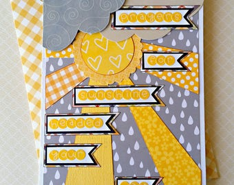 Get Well Card, Grief or Loss card, Encouragement Card, Praying For You Card, Sympathy Card, Gray and Yellow Card, Rain and Sun Card,