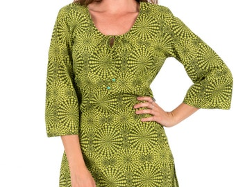 Beach Cover Up or Kaftan Dress in 100% Cotton – Cosmic Lime