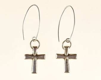 Cross Drop Earrings Spring Summer Easter Religious Christian Jewelry Birthday Gift For Her Antique Silver Bronze Boho Minimalist Artisan