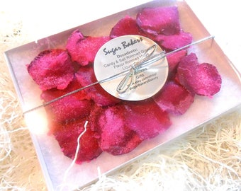 KATE SPADE WEDDING Cake Decorations, Candied Flowers, Crystallized, Edible Real Rose Petals, Hot Pink, White, Black