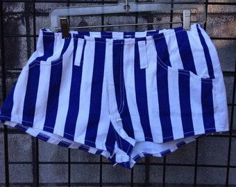 Stripe Denim Shorts Vintage 1990s Booty hip Hugger Navy blue and White Nineties
