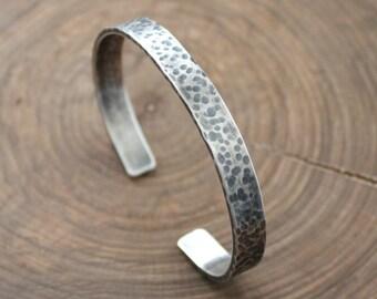 Men's Cuff, Personalized Men's Bracelet, Sterling Silver, Custom Message Cuff, Hammered & Rustic, Hand Stamped Men's Bracelet - Ed Bracelet